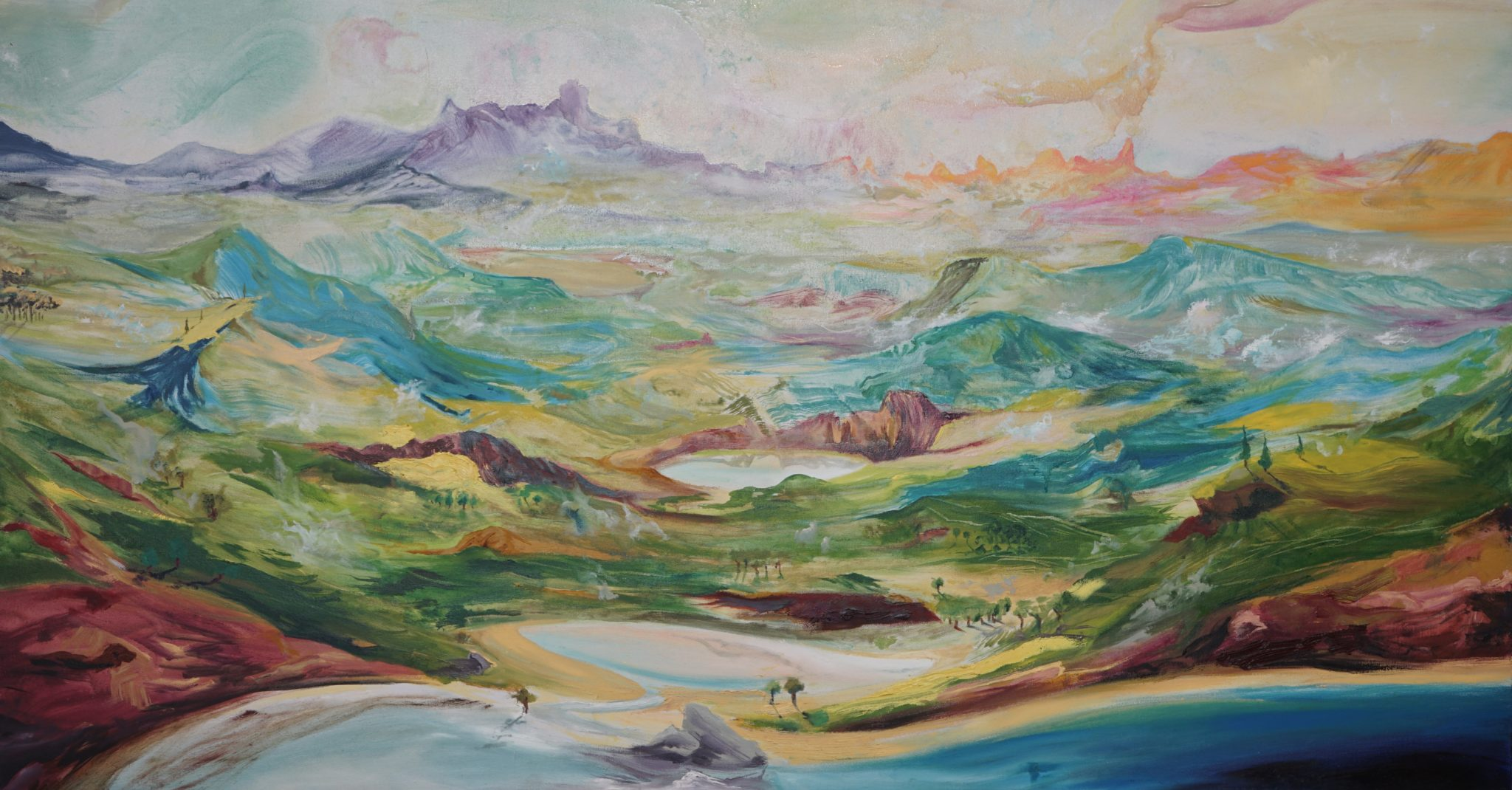 The painting Aconte's Landscape is elaborated by Jose Lavin, with the oil on canvas technique.