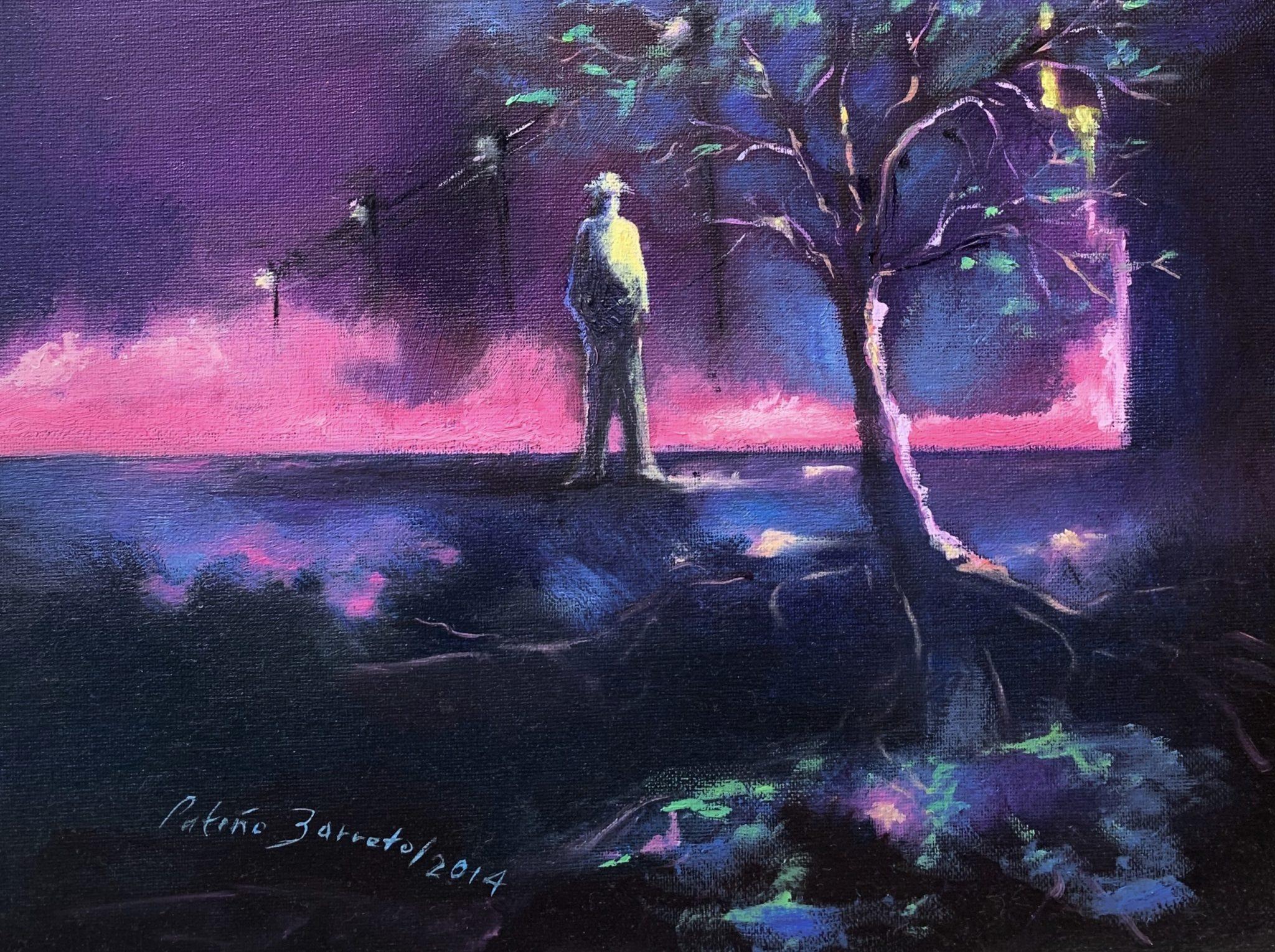 Man, tree and fog