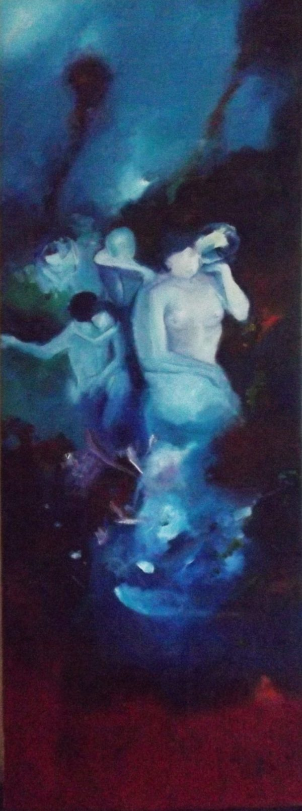 Elaborated by artist Gabí. Various Hugs is about bodies in motion. Immersed in shades of blue, moving in different directions.