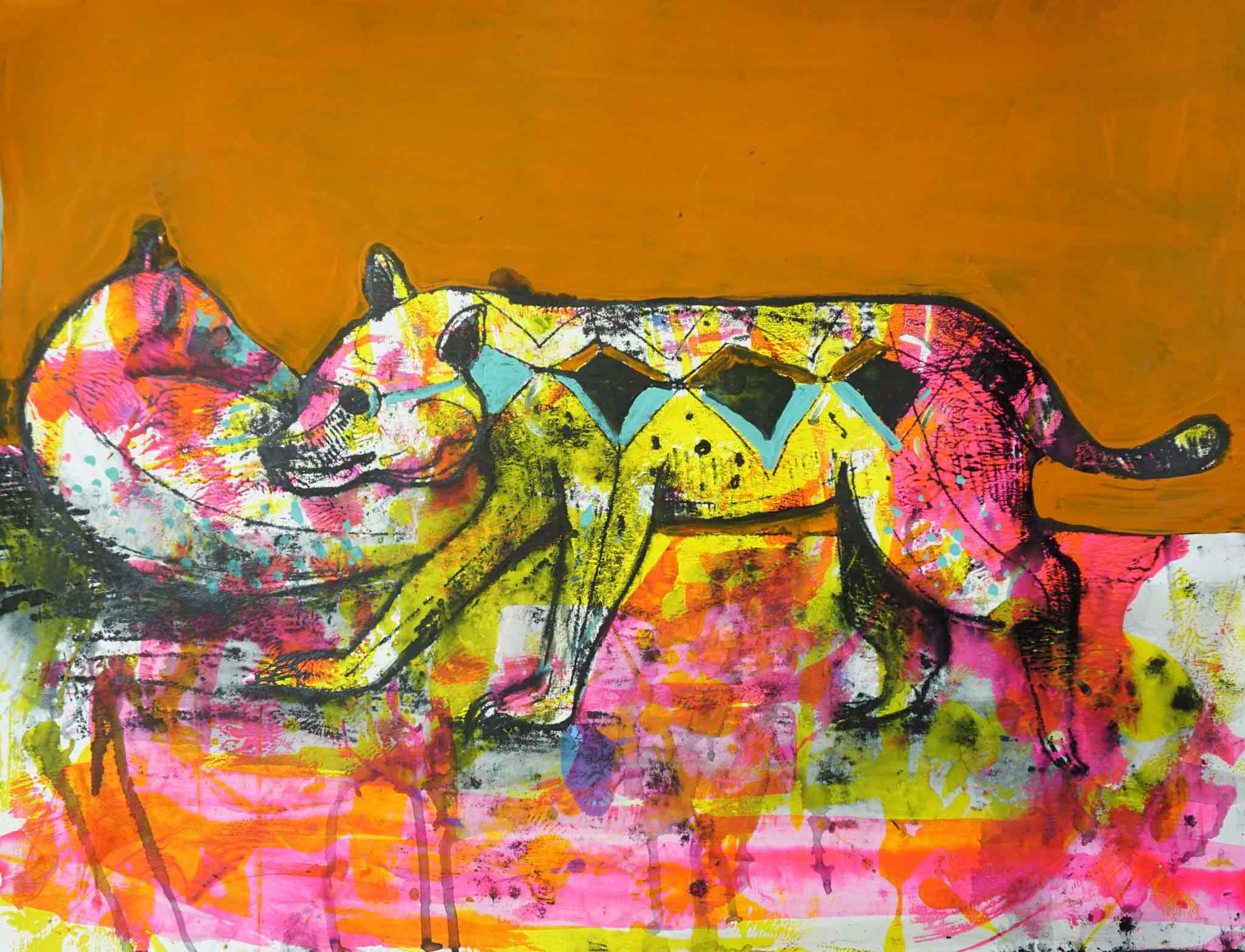 Stray Dog by Yamil Guzman, is an experiment with technique and color. Elaborated with the monotype, acrylic on paper technique.