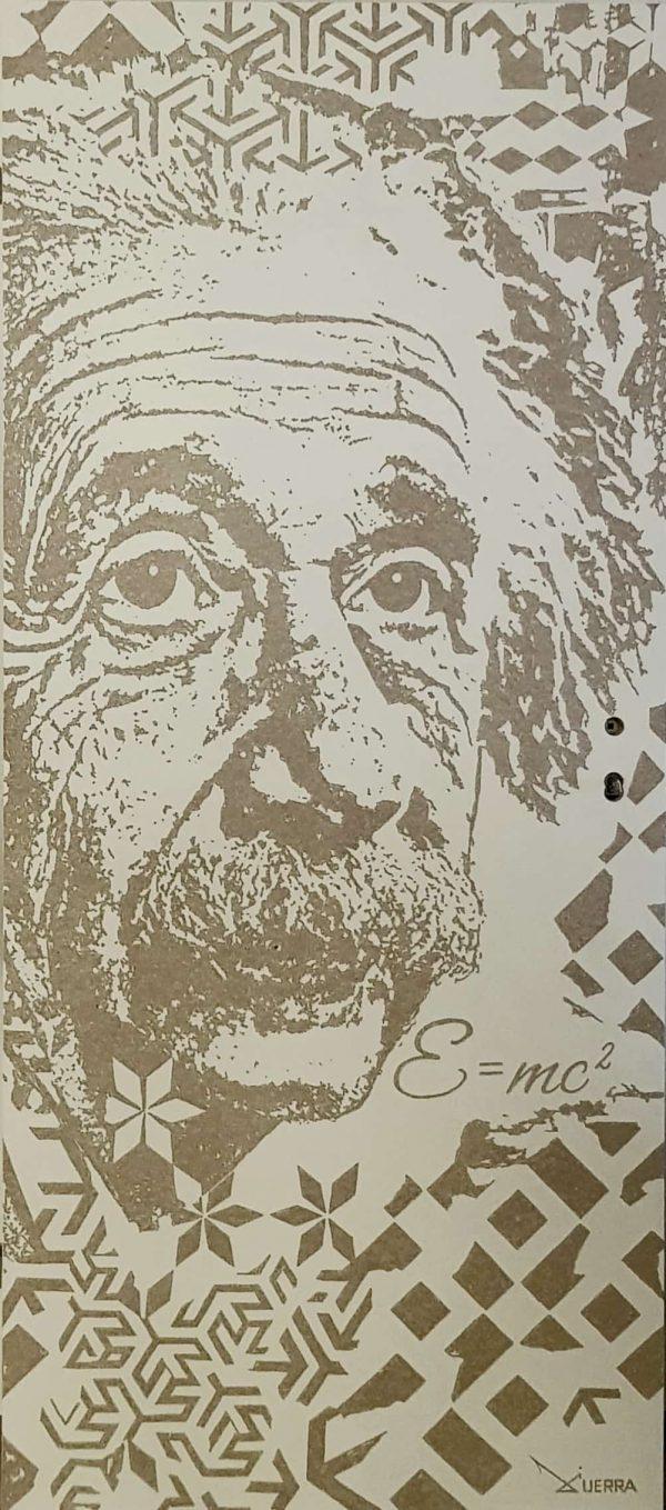 By Telmo Guerra. Engraved portrait of Albert Einstein with Portuguese ceramic motifs on a hardwood door. Deep relief engraving on a hardwood door