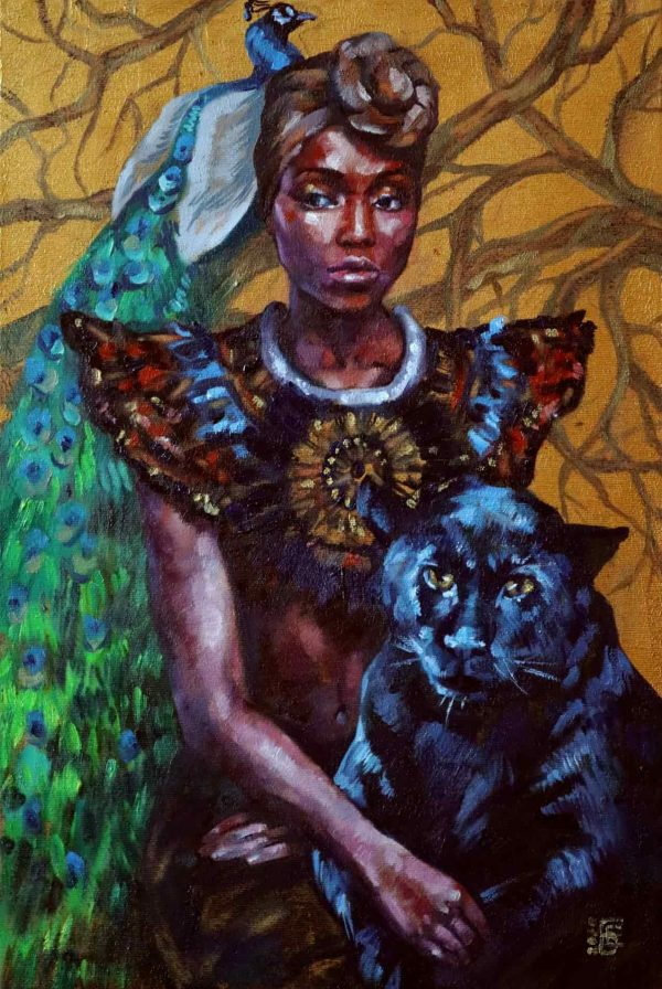 By Kateryna Bortsova. African Queen is an original oil and acrylic painting on canvas with gold paint. Artwork framed in a golden wood frame.