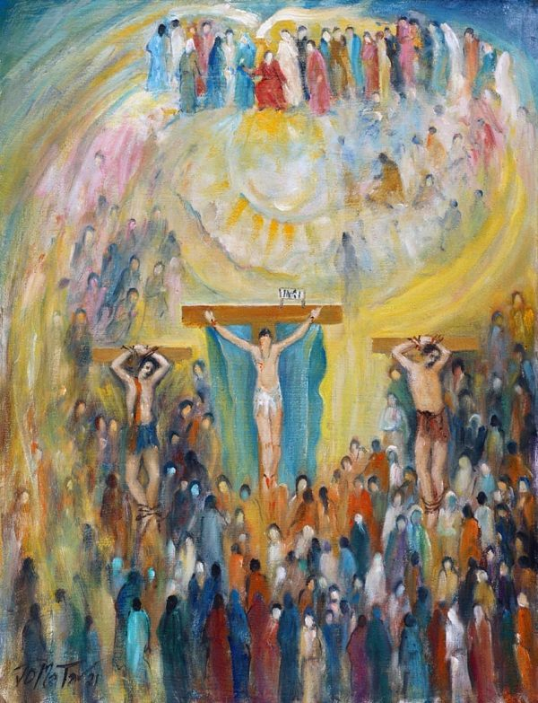 By Joseph Matar. Contemporary Impressionism. Dismas and Paradise is an oil on canvas painting. Religious theme.